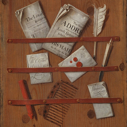 A trompe l'oeil painting of newspapers, letters, writing implements (a quill, knife and sealing wax) and a comb, attached to a wooden board with tacked down strips of red leather