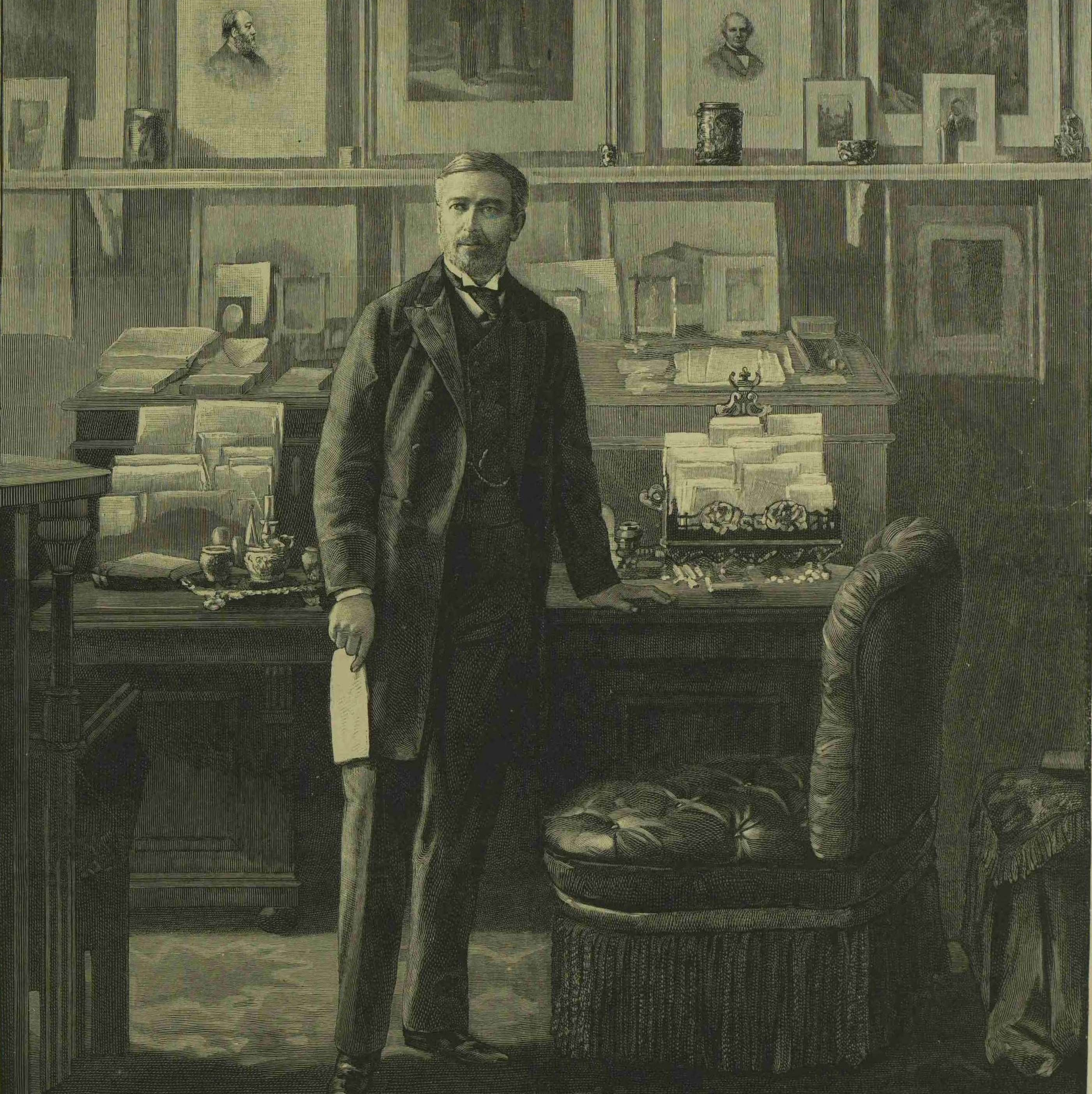 Engraving of a portrait of Sir Edward Malet in his study at the British embassy, Berlin, 1893