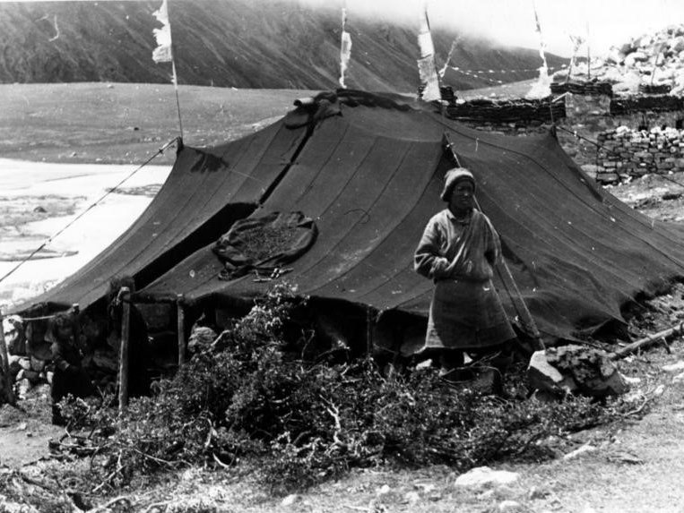 A Tibetan nomad in front of his tent